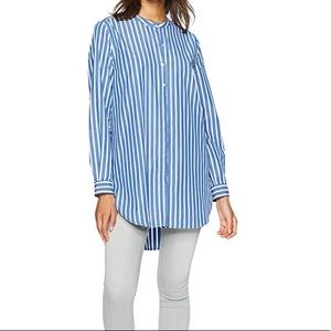 French Connection Tunic Top Blue Button Down XS